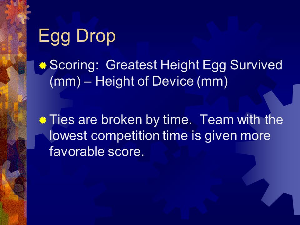 Egg Drop Scoring: Greatest Height Egg Survived (mm) – Height of Device (mm)