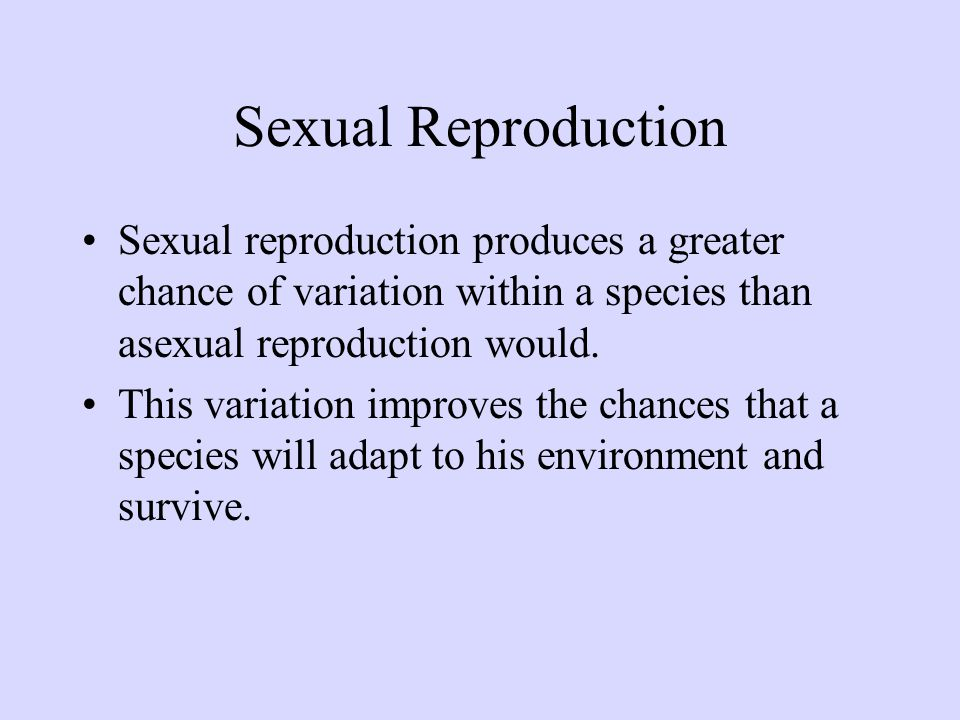 Sexual Reproduction Sexual reproduction produces a greater chance of variation within a species than asexual reproduction would.