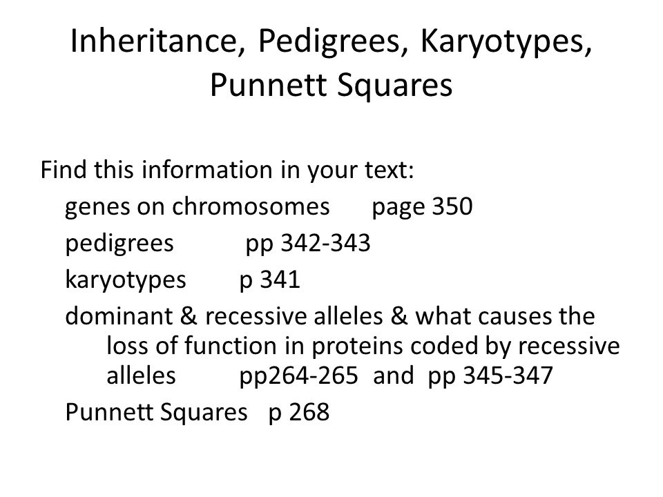 Inheritance, Pedigrees, Karyotypes, Punnett Squares