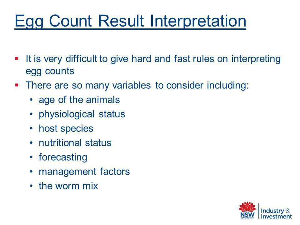 Egg Count Result Interpretation