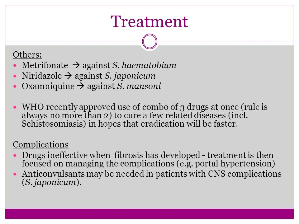 Treatment Others: Metrifonate  against S. haematobium
