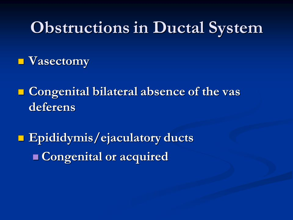 Obstructions in Ductal System