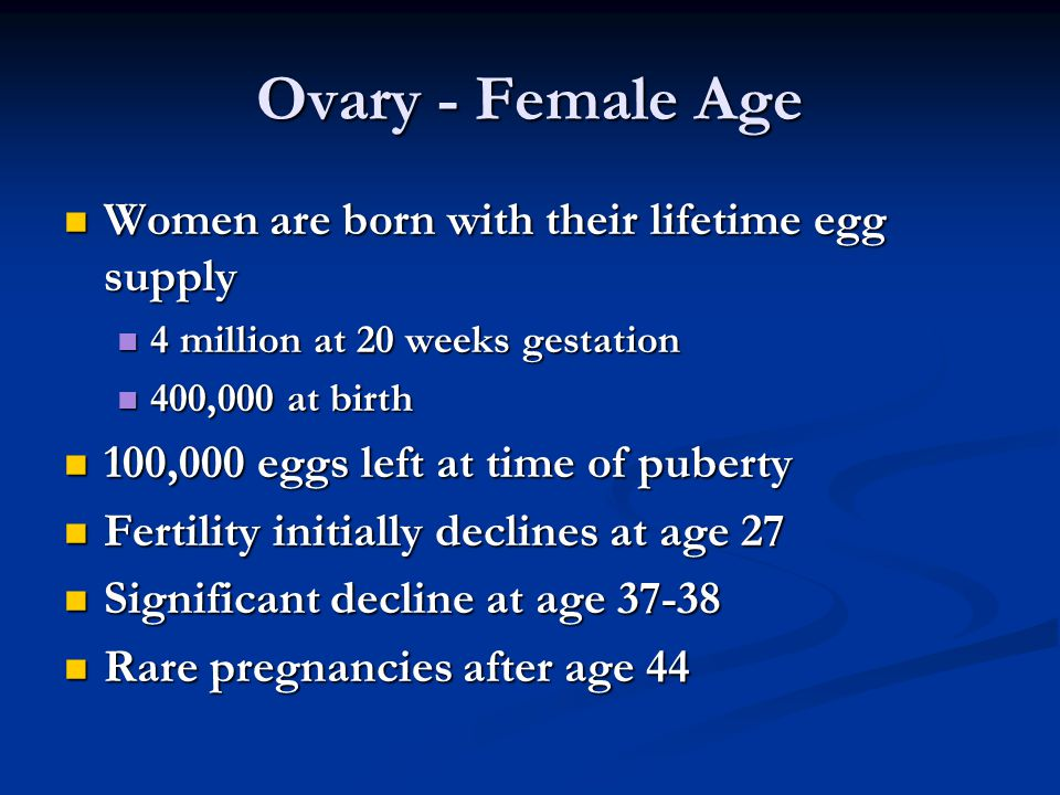Ovary - Female Age Women are born with their lifetime egg supply