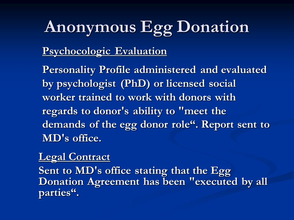 Anonymous Egg Donation