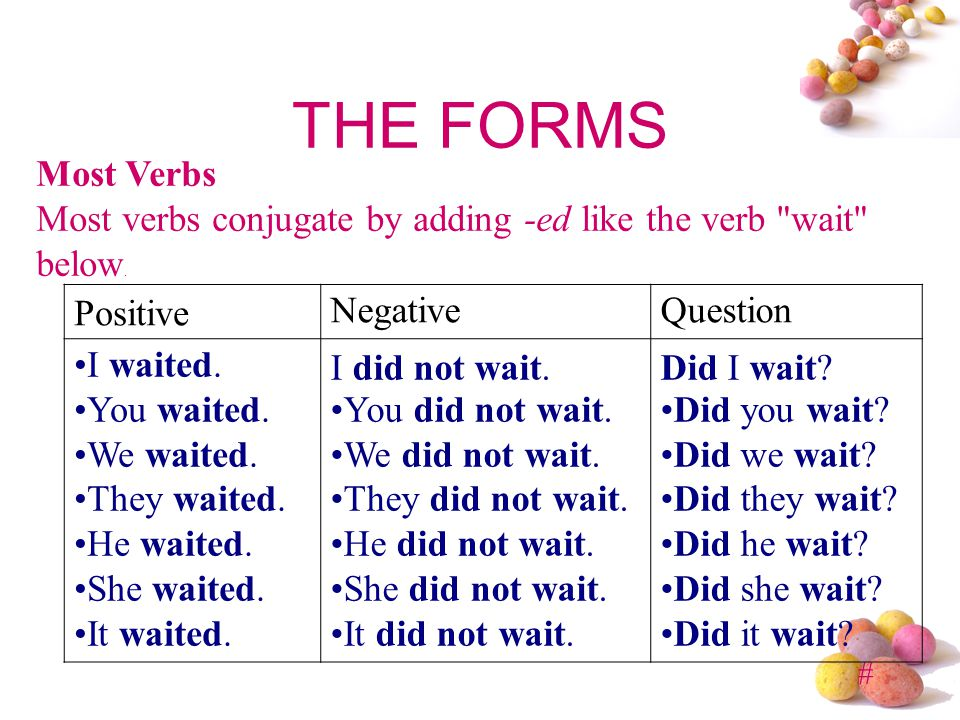THE FORMS Most Verbs. Most verbs conjugate by adding -ed like the verb wait below. Positive. Negative.