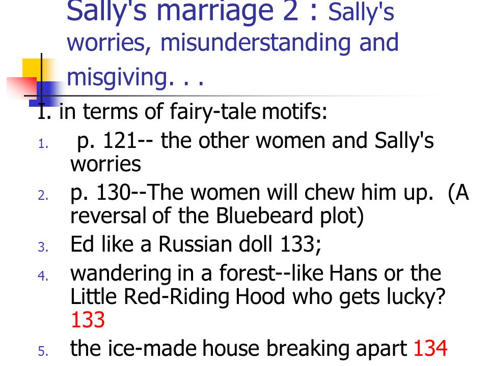 Sally s marriage 2 : Sally s worries, misunderstanding and misgiving. . .