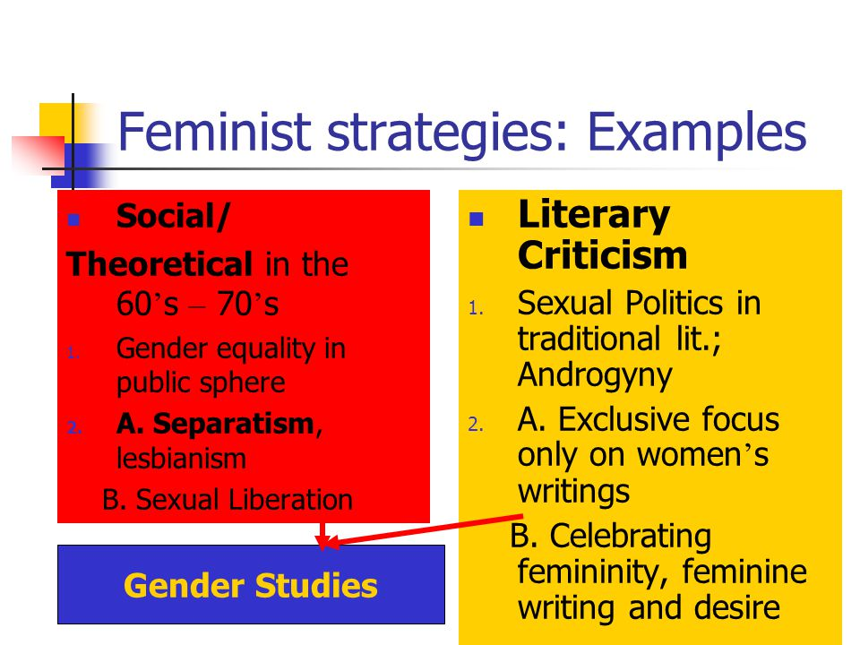 Feminist strategies: Examples