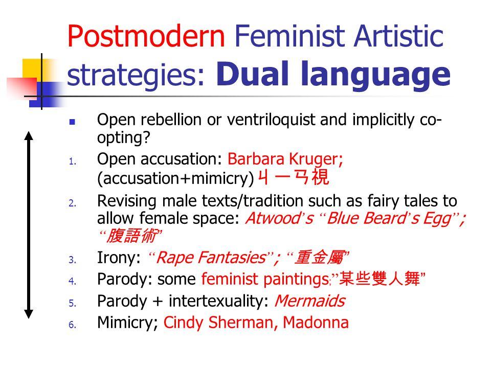 Postmodern Feminist Artistic strategies: Dual language