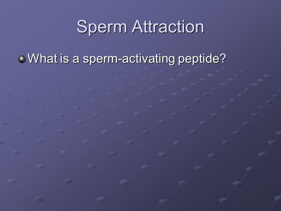 Sperm Attraction What is a sperm-activating peptide