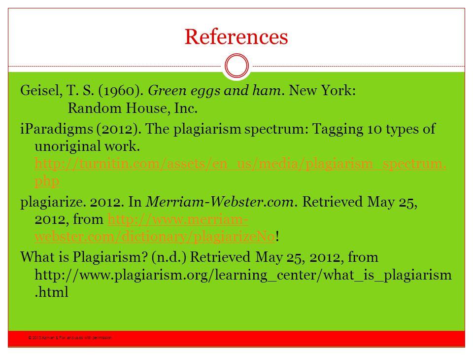 References Geisel, T. S. (1960). Green eggs and ham. New York: Random House, Inc.