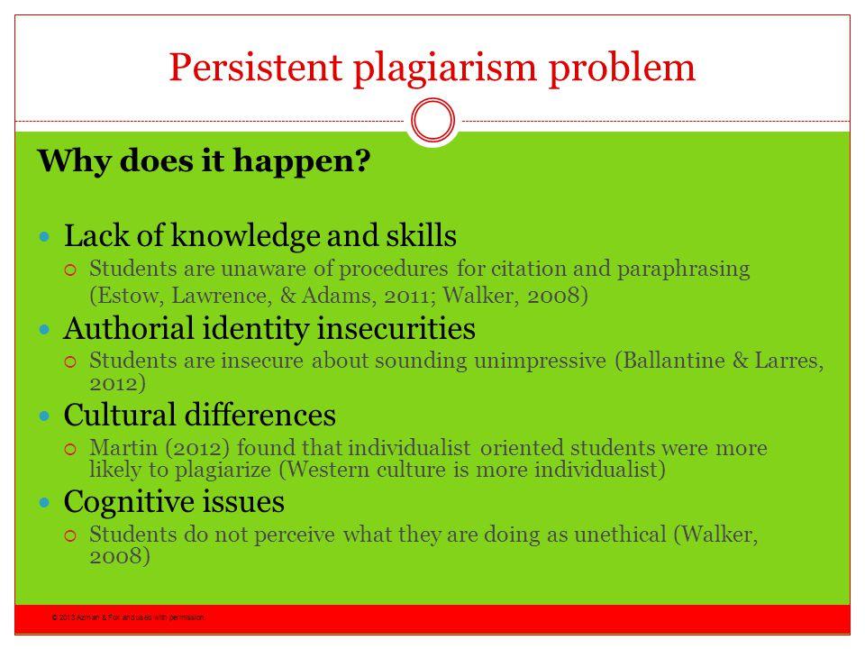 Persistent plagiarism problem