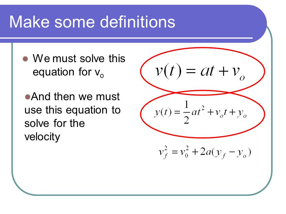 Make some definitions We must solve this equation for vo