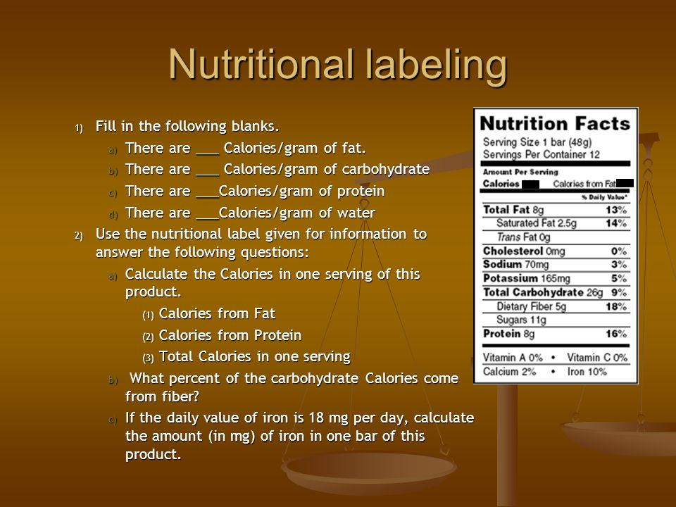Nutritional labeling Fill in the following blanks.