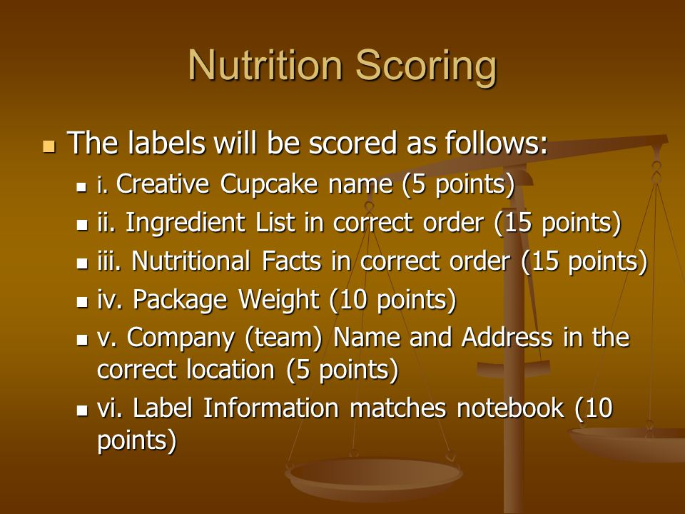 Nutrition Scoring The labels will be scored as follows: