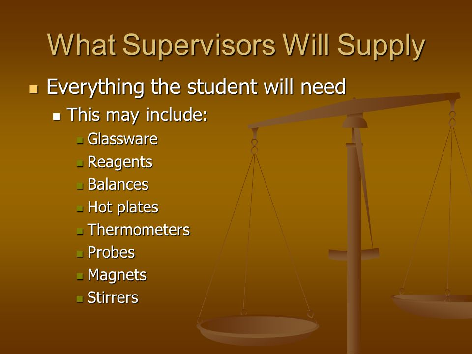 What Supervisors Will Supply