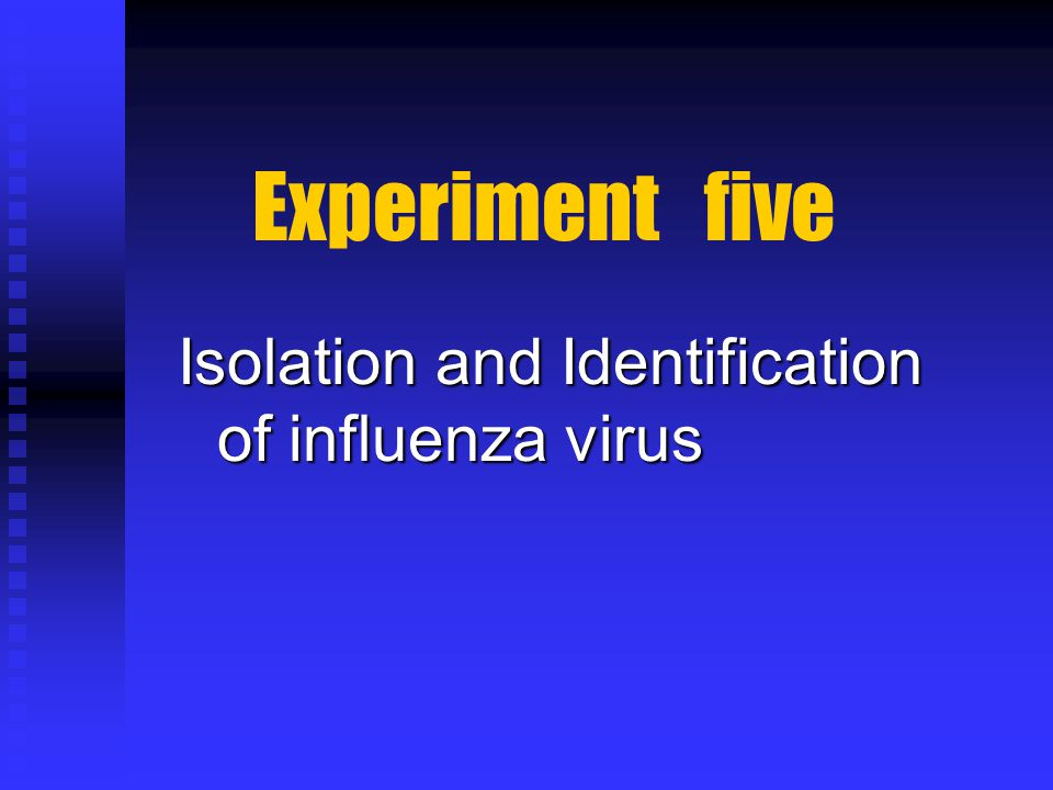 Experiment five Isolation and Identification of influenza virus