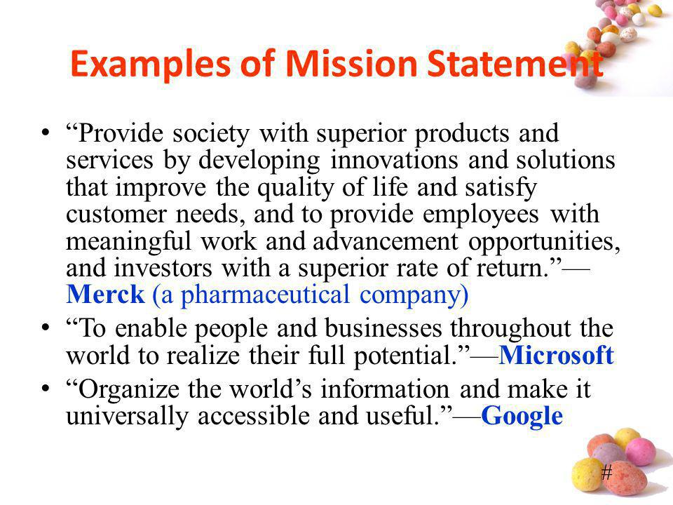 Examples of Mission Statement