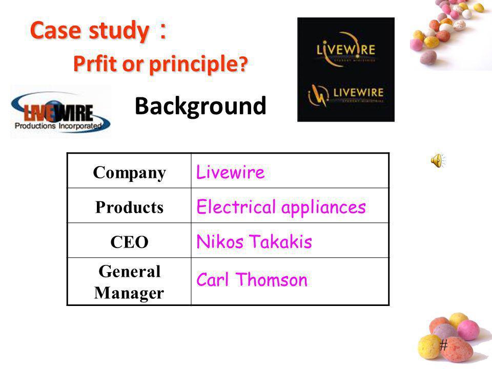 Case study: Prfit or principle