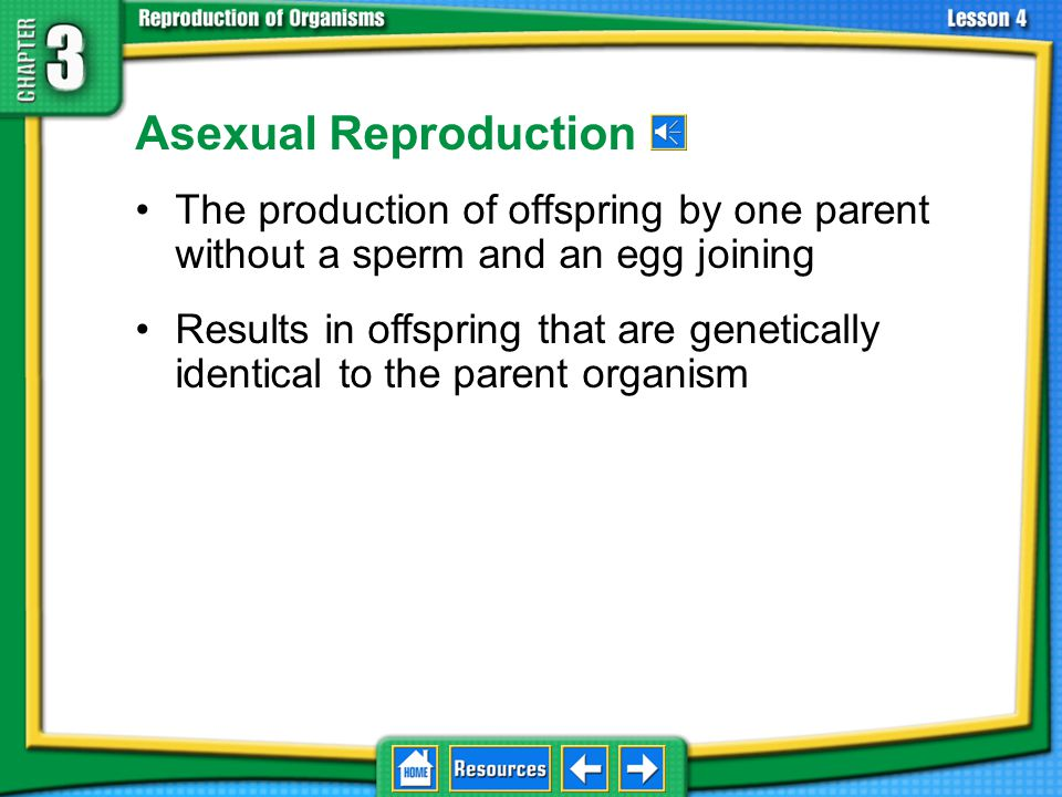 3.4 Asexual Reproduction Asexual Reproduction. The production of offspring by one parent without a sperm and an egg joining.