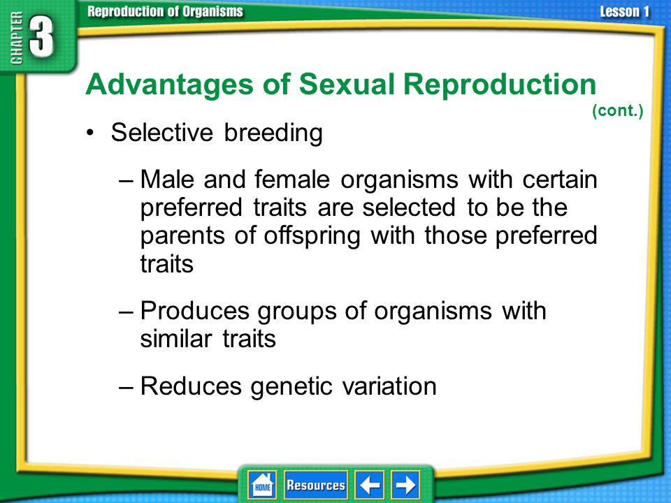 Advantages of Sexual Reproduction (cont.)