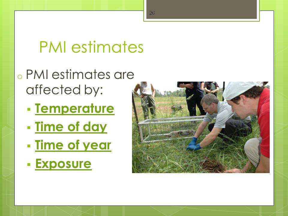 PMI estimates PMI estimates are affected by: Temperature Time of day