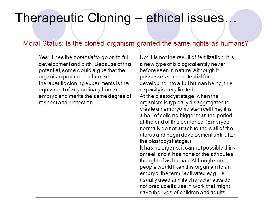 the ethical concerns about the possibility of human cloning Human cloning debates fall to gain universal agreements on emerging ethical issues related to human cloning laws, human dignity and the poverty of the.