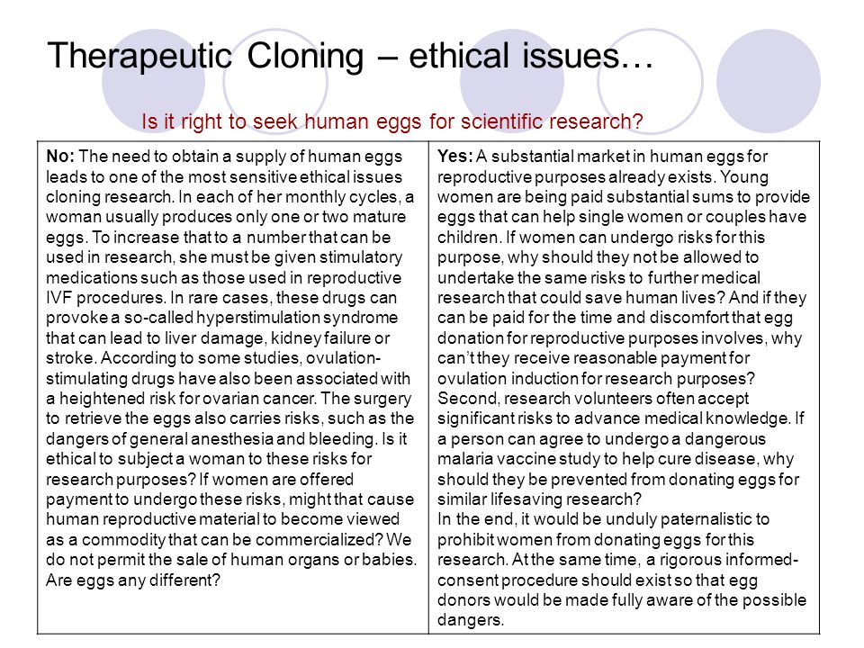 the ethical issues surrounding human cloning Email: srtp@cofscotlandorguk website: wwwsrtporguk human cloning: ethical issues society, religion and technology project it could never be ethically justified to experiment on creating a human clone, due to the unquantifiable risk of serious harm in those first attempts one cannot 'put down' a deformed cloned.