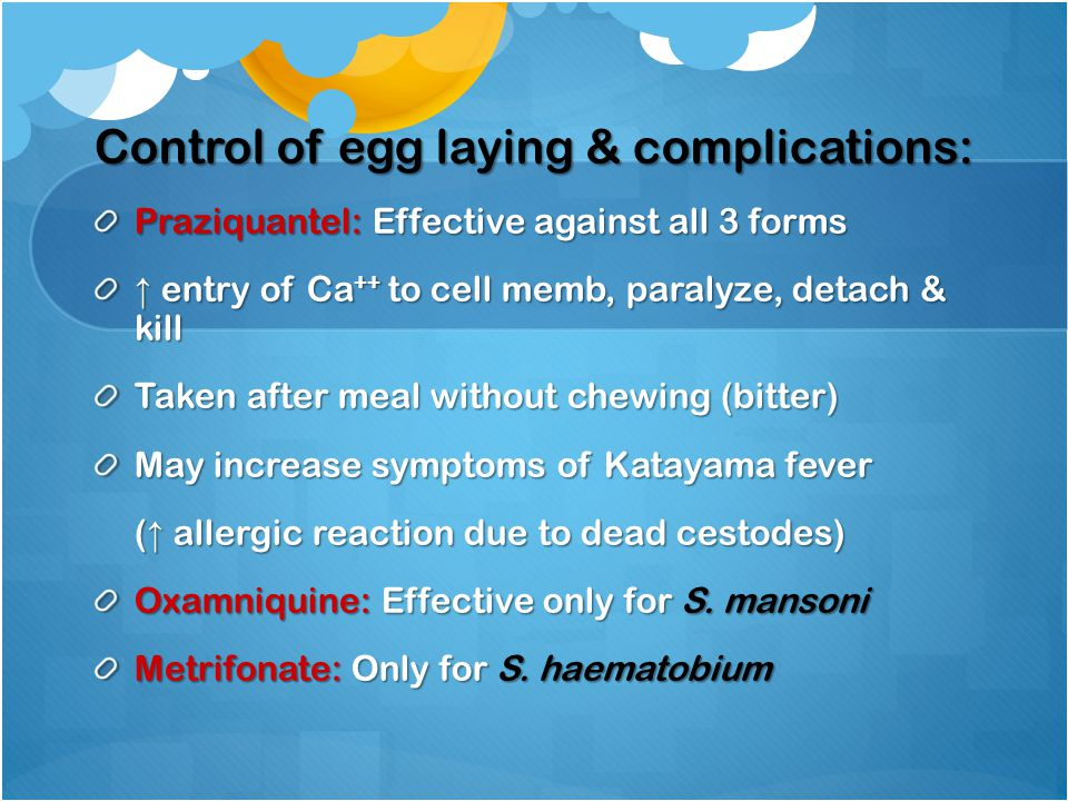 Control of egg laying & complications: