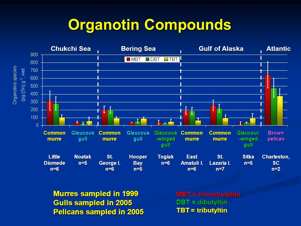 Organotin Compounds Murres sampled in 1999 Gulls sampled in 2005