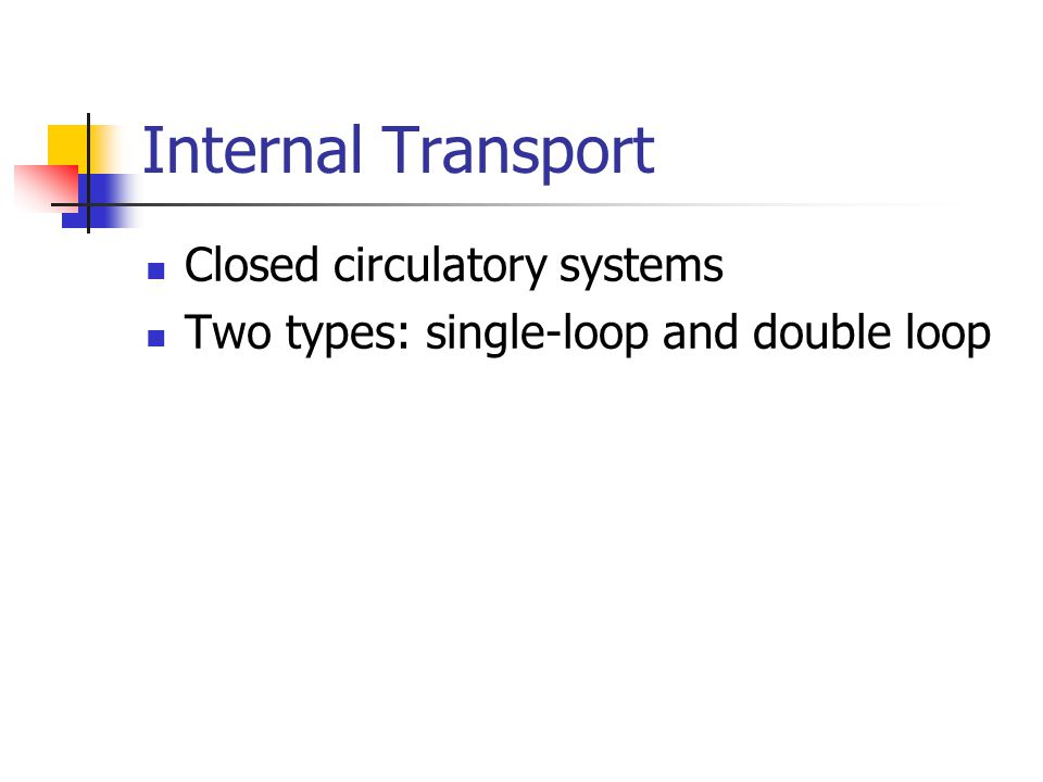 Internal Transport Closed circulatory systems