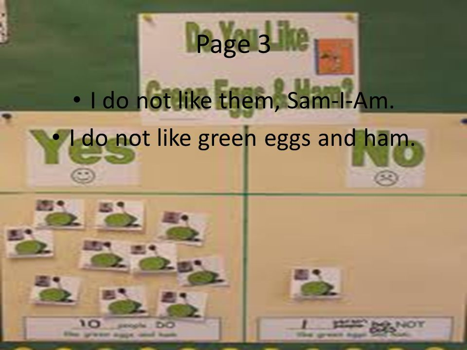 Page 3 I do not like them, Sam-I-Am. I do not like green eggs and ham.