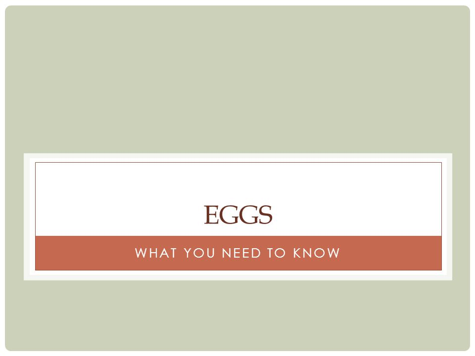 Eggs What you need to know