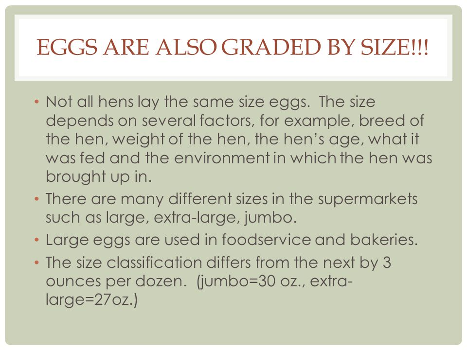 Eggs are also Graded by size!!!
