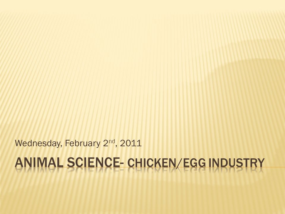 Animal Science- Chicken/Egg Industry