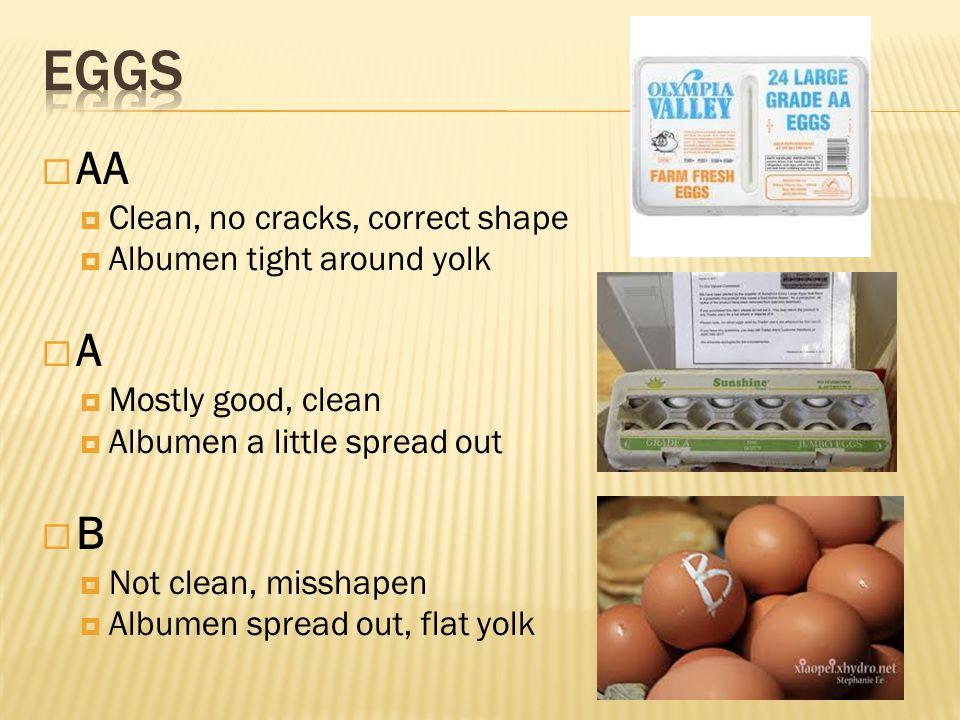 EGGS AA A B Clean, no cracks, correct shape Albumen tight around yolk