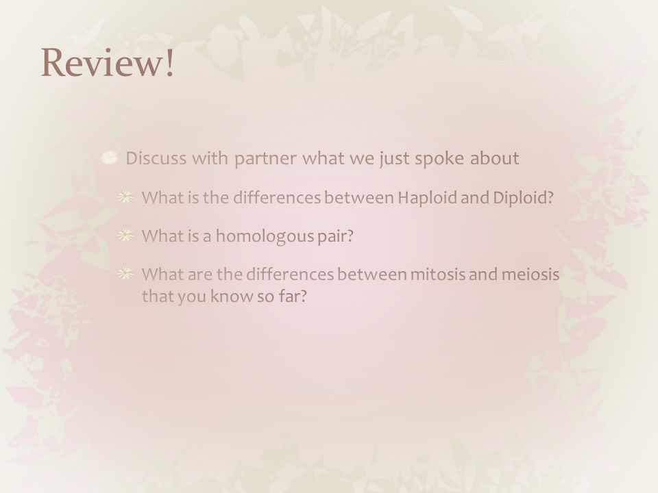 Review! Discuss with partner what we just spoke about