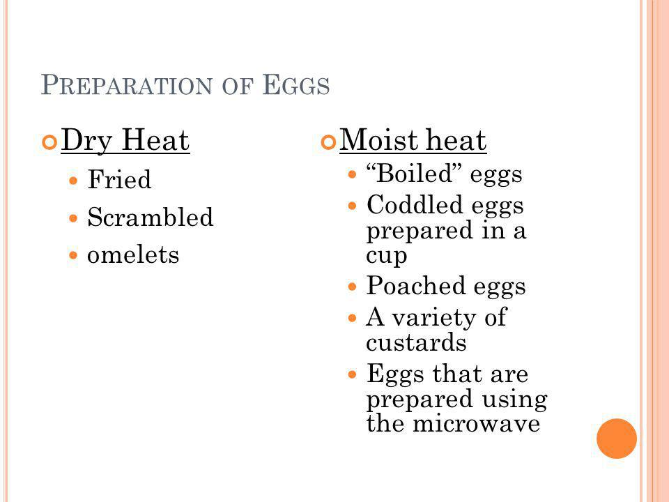 Dry Heat Moist heat Preparation of Eggs Fried Scrambled omelets