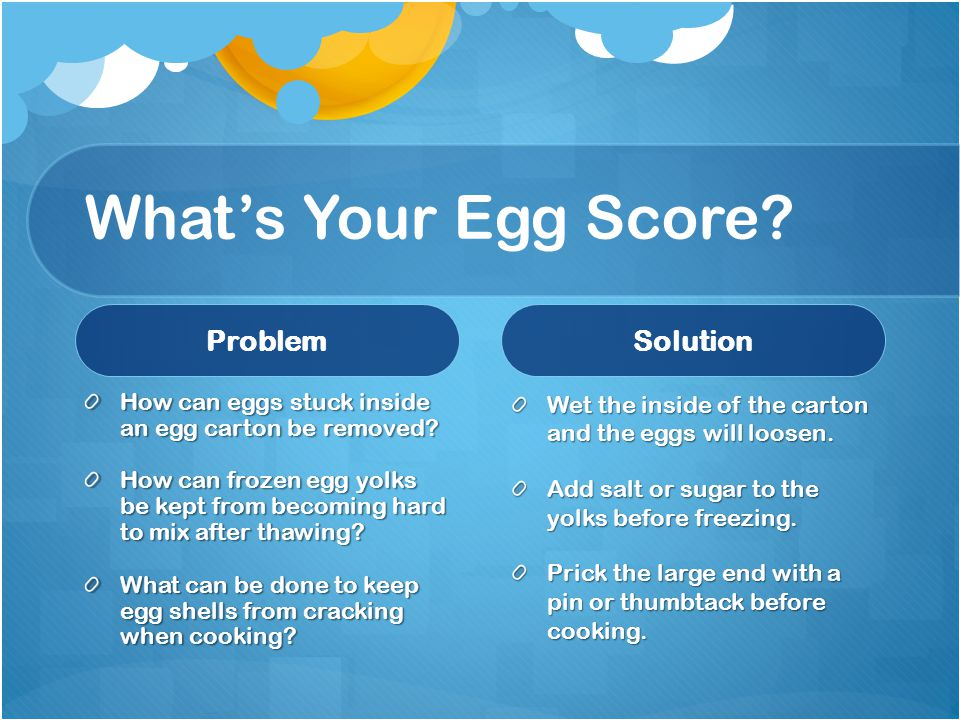 What's Your Egg Score Problem Solution