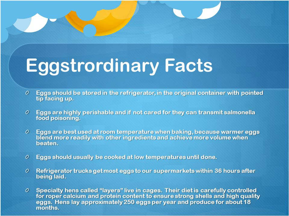 Eggstrordinary Facts Eggs should be stored in the refrigerator, in the original container with pointed tip facing up.