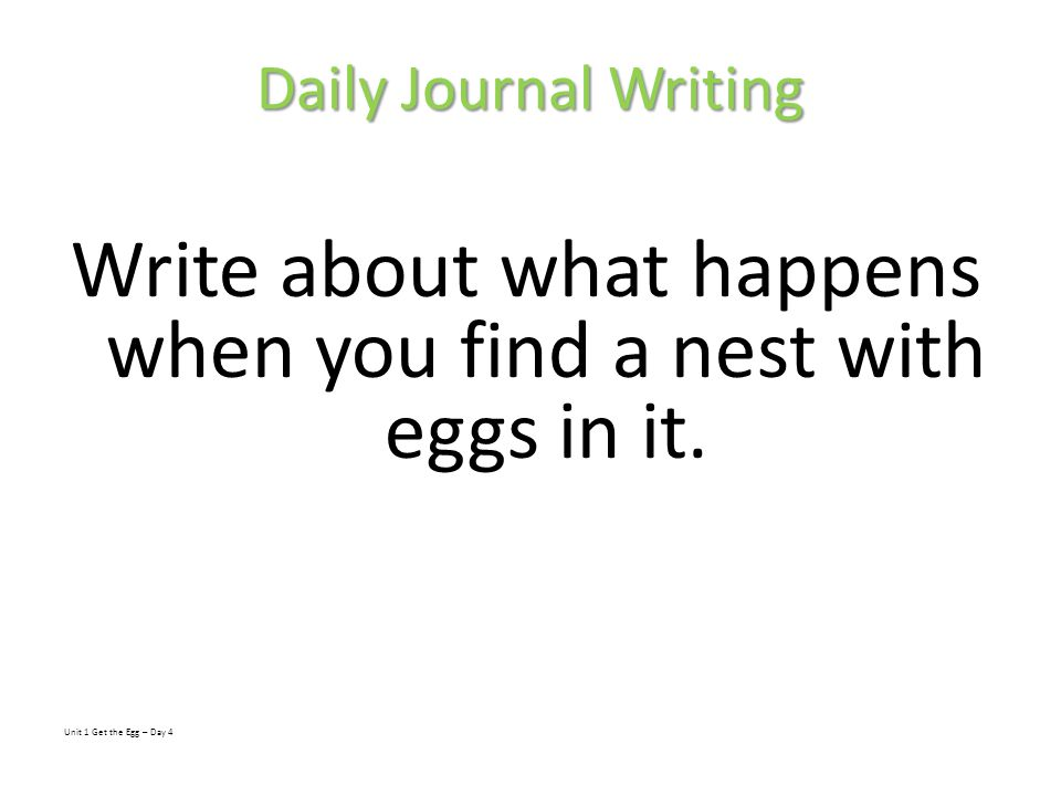 Write about what happens when you find a nest with eggs in it.