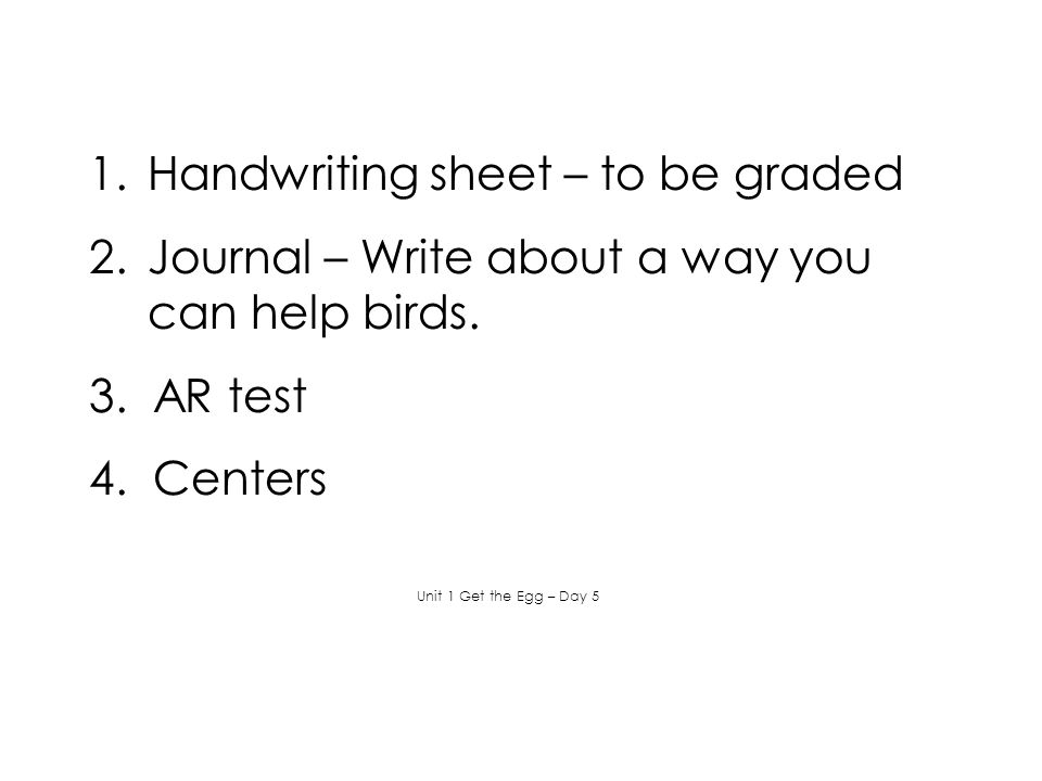 Handwriting sheet – to be graded
