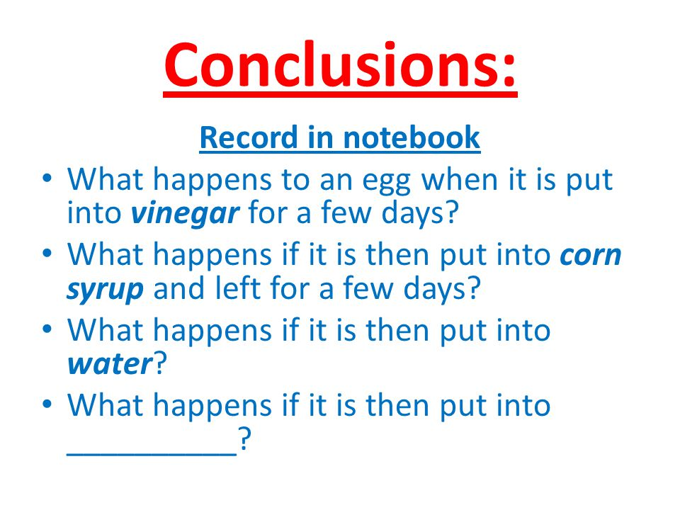Conclusions: Record in notebook