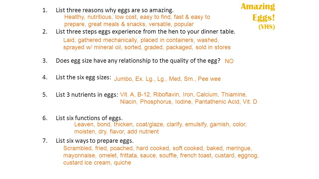 Amazing Eggs! (VHS) List three reasons why eggs are so amazing.