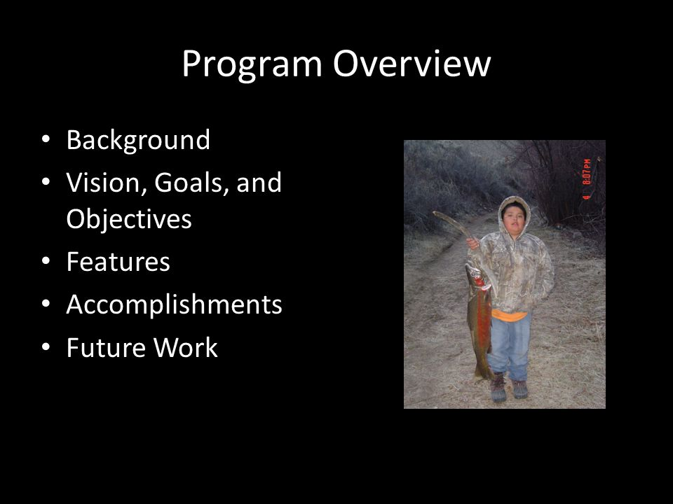 Program Overview Background Vision, Goals, and Objectives Features