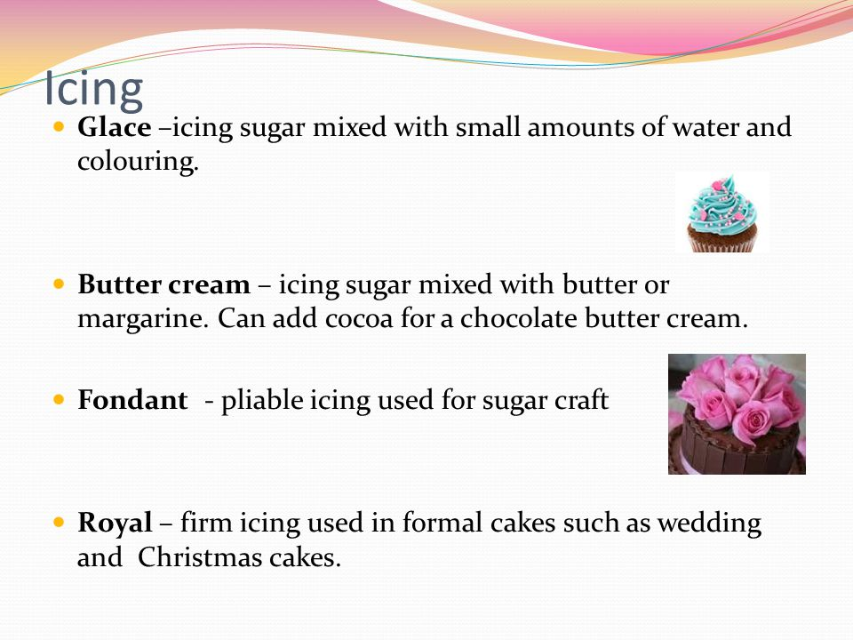 Icing Glace –icing sugar mixed with small amounts of water and colouring.