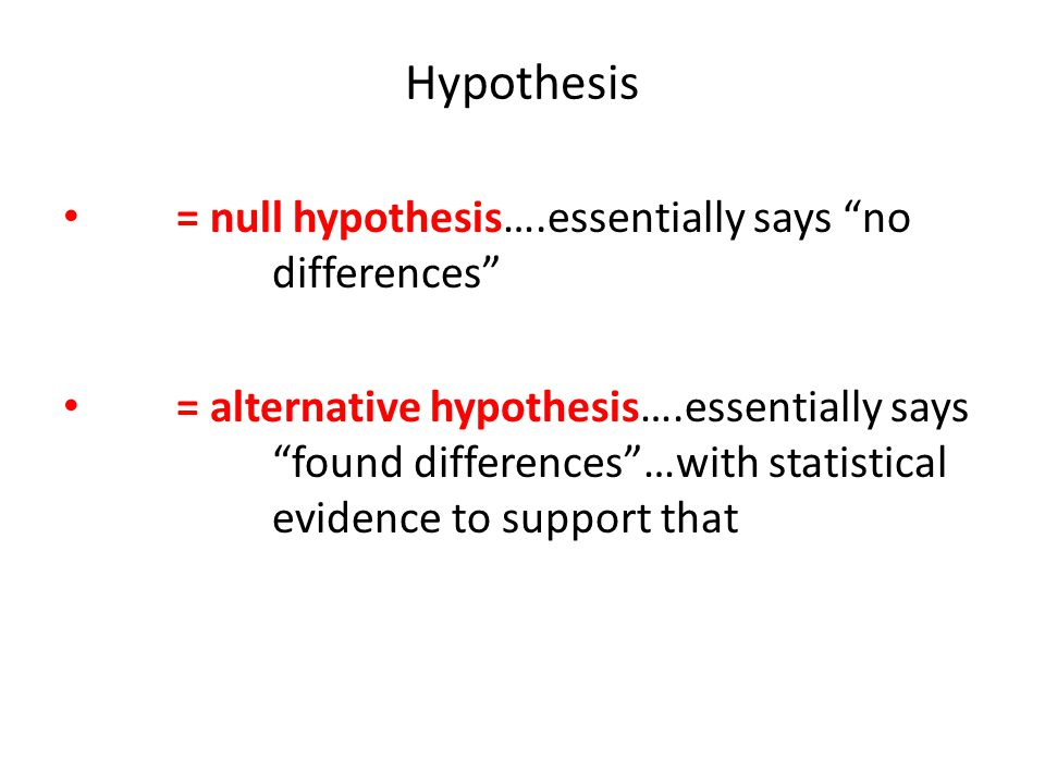 Hypothesis = null hypothesis….essentially says no differences
