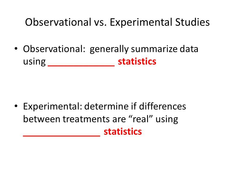 Observational vs. Experimental Studies