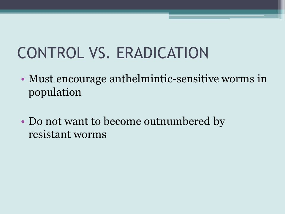 CONTROL VS. ERADICATION