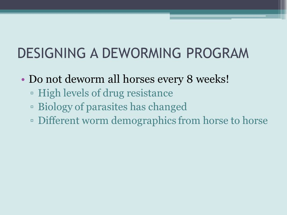 DESIGNING A DEWORMING PROGRAM