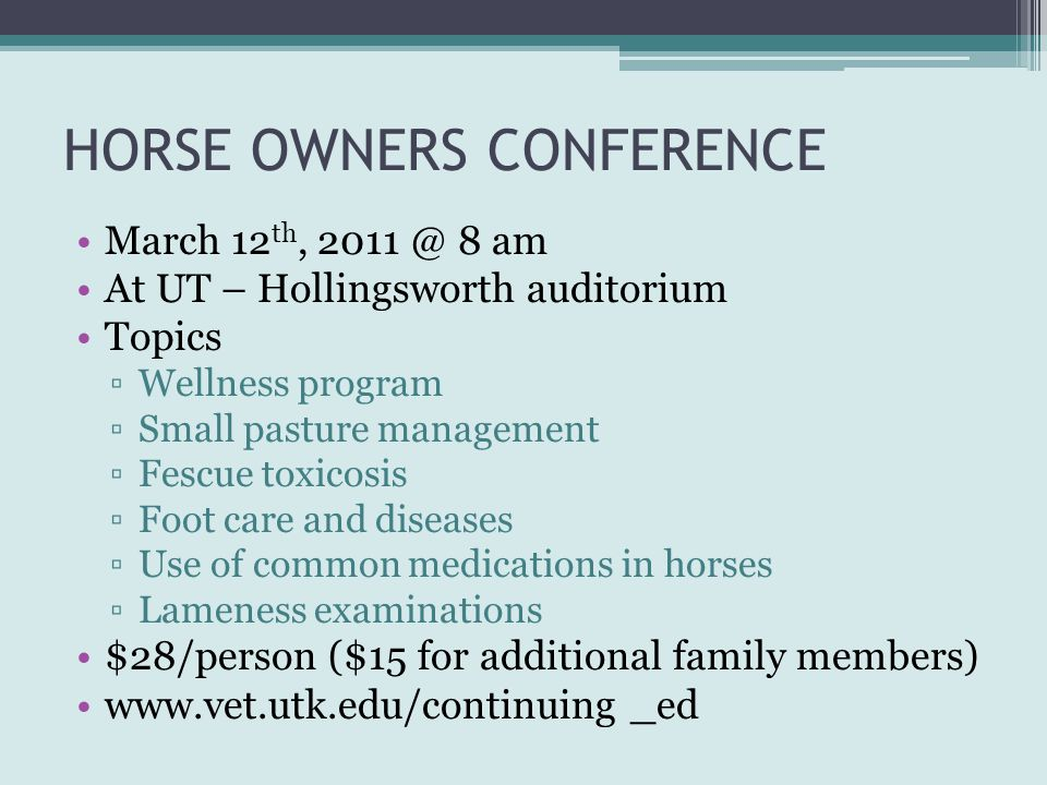 HORSE OWNERS CONFERENCE